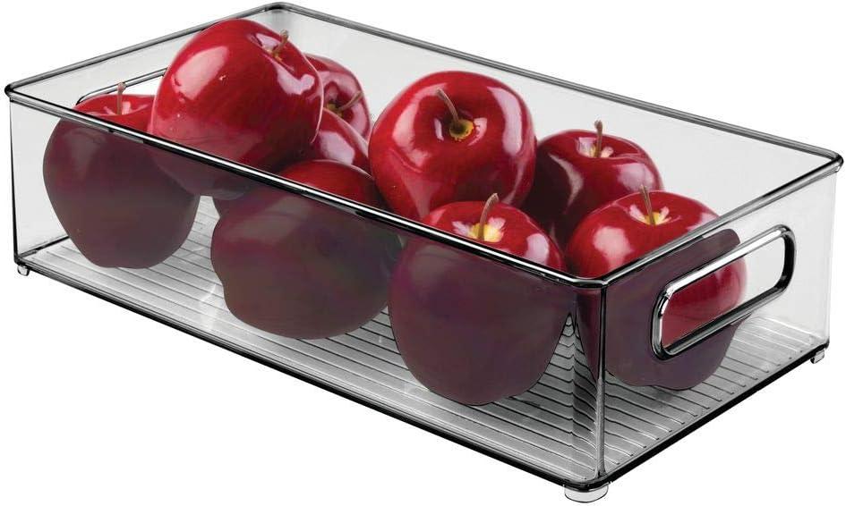 mDesign Caja organizadora con asas – Práctico organizador de frigorífico para almacenar alimentos – Contenedor de plástico sin BPA para los armarios de la cocina o la nevera – gris: Amazon.es: Hogar