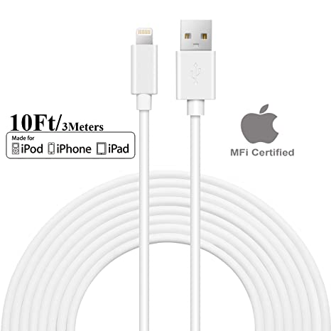 Apple MFI Certificado] segmoi 10 ft/3 m Extra Largo ...