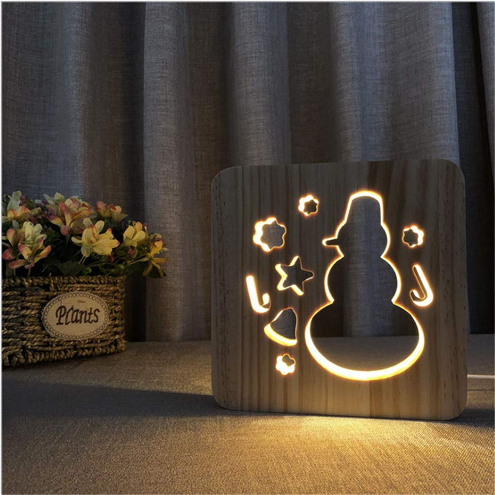 Night Light Kid Led Wooden Button Type 3D Wood Table Lamp USB Warm White, Snowman