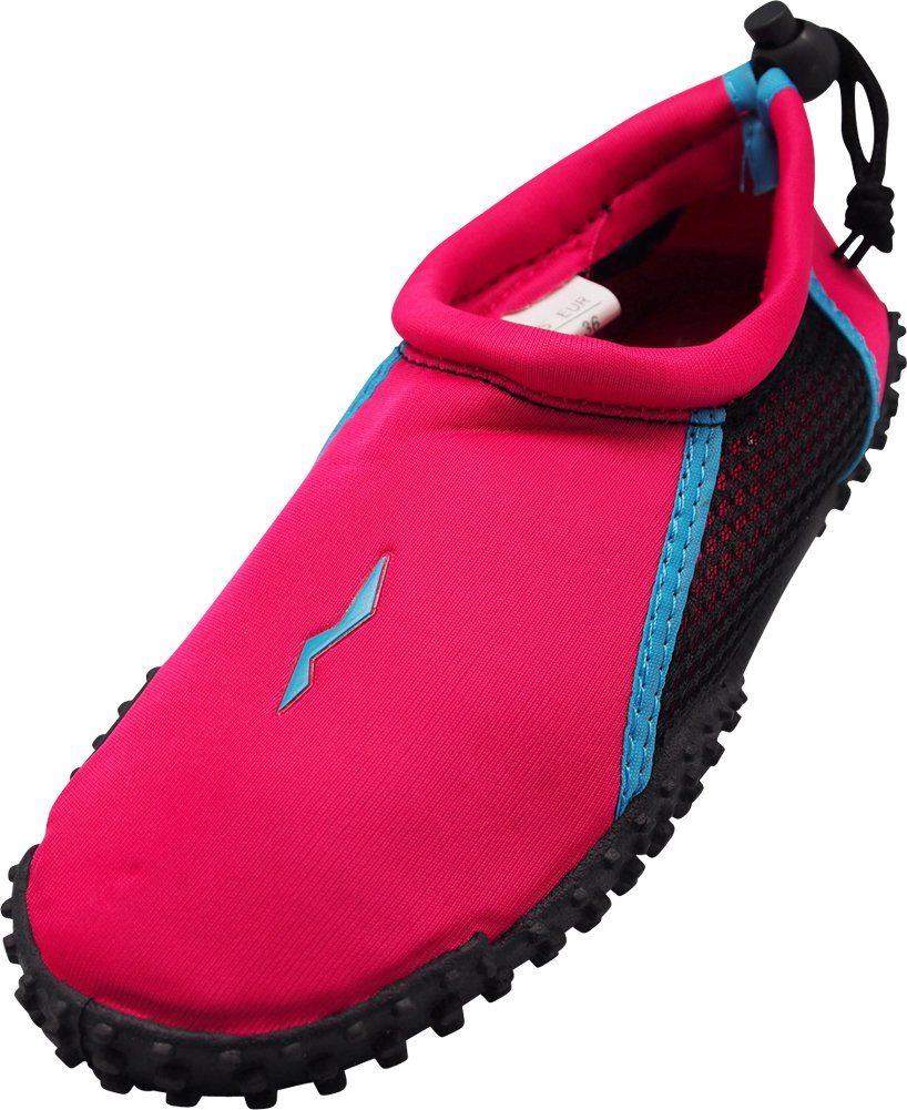 NORTY - Womens Skeletoe Aqua Water Shoes for Pool Beach, Surf, Snorkeling, Exercise Slip on Sock, Fuchsia, Light Blue 40210-9B(M) US by NORTY