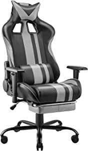 Soontrans Gaming Chair for Adults Kids,PC Computer Chair,Home Office Chair,Racing Chair with Adjustable Recliner and Armrest and Retractable Footrest with Headrest Lumbar Pillow Support(Flash Grey)