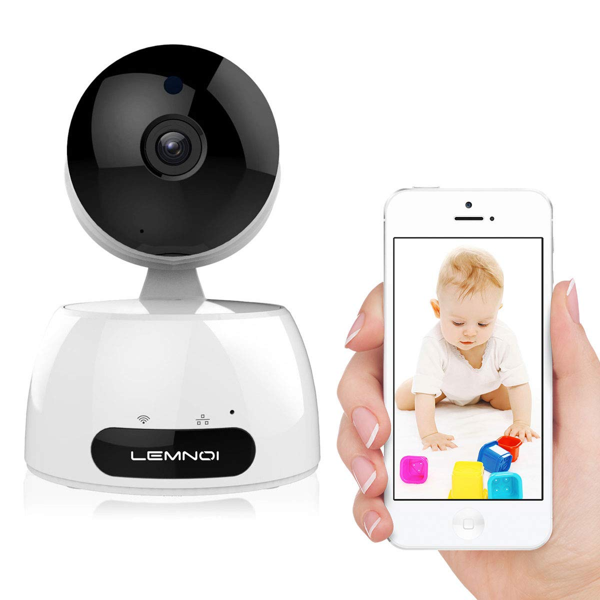 720P Wireless Security Camera, Lemnoi WiFi IP Camera Baby/Elderly/Pet Monitor with Pan/Tilt/Zoom, Night Vision, Two Way Audio with iOS/Android/Windows Pad PC