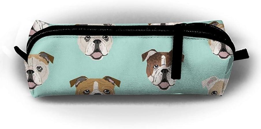 Estuche para lápices con caras de bulldog inglés, capacidad portátil, bonito bolígrafo de acuarela, bolsa de cosméticos, bolsa de papelería, organizador para niños en la escuela: Amazon.es: Hogar