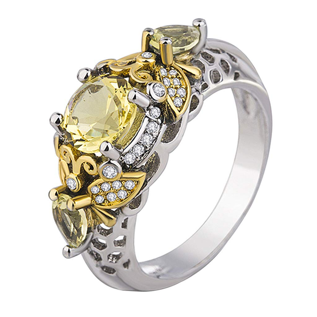 Booboda JJZ243 Women's Yellow Diamond Gold Plated Ring, Colored Gemstone Accessories, Perforated Zircon Cutout Ring, Friends Gift(Silver7#)