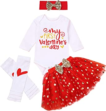US Newborn Infant Baby Girl Clothes Valentine/'s Day Romper+Leg Warmers Outfits