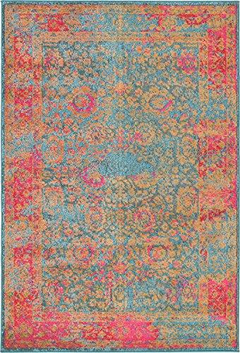 Unique Loom Medici Collection Floral Vibrant Colors Blue Area Rug (4' x 6')