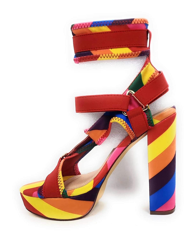 e50e4fbe853c Liliana Women Strappy Elastane Harness Chunky Platform Heel Glamrock ...