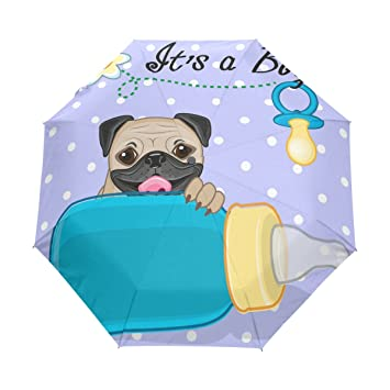 GIOVANIOR Pug Dog Boy Windproof Travel Rain Umbrella Golf Canopy Auto Button Tri-Folded Umbrella