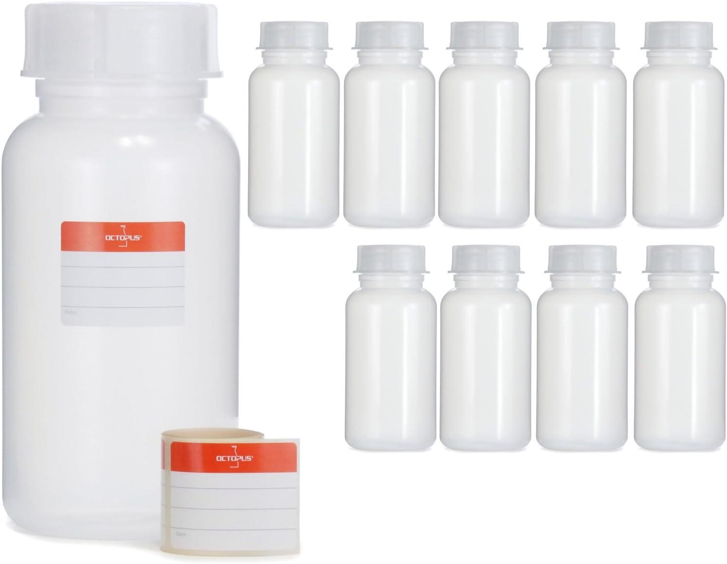 bouteilles vides avec bouchons /à vis blanc bouteilles carr/ées Bouteilles en plastique Octopus 10 x 1000 ml bouteilles en plastique PE-HD avec bouchon /à vis de blanc 10 /étiquettes incluses.