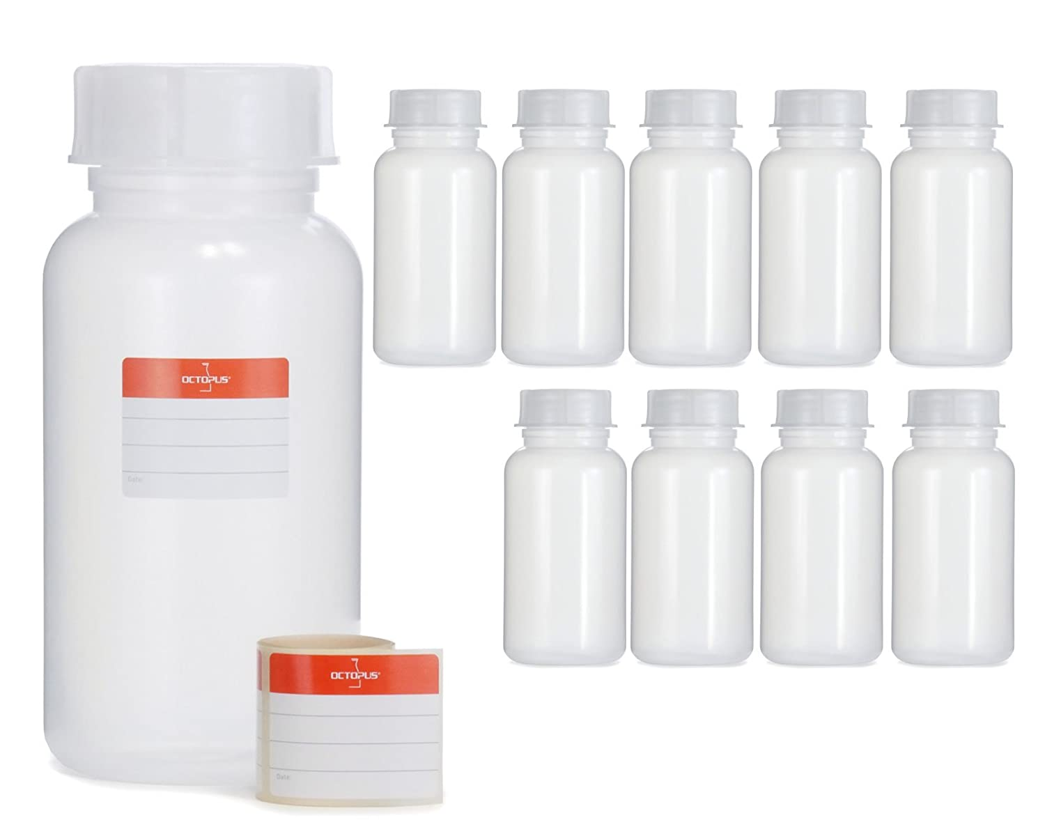 laboratory bottle chemical bottle Octopus 1x 1500 ml wide mouth bottles with screw top