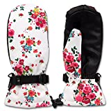 Colorful Waterproof Insulated Ski Mittens for Women or Big Girls (L, Floral Winter)