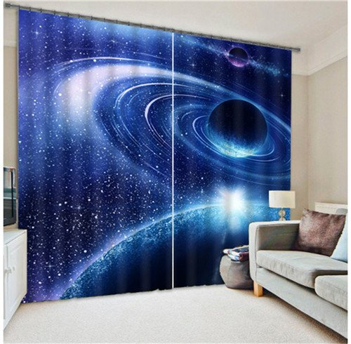 Sproud Outer Space Galaxy Digital Print 3D Blackout Curtains Kids For Living Room Bedding Room Drapes Cotinas Para Sala-280Cmx300Cm by Sproud