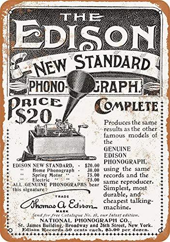 Weytff 12 x 16 Metal Sign - Edison New Standard Phonograph Pub Home Decor Metal Tin -
