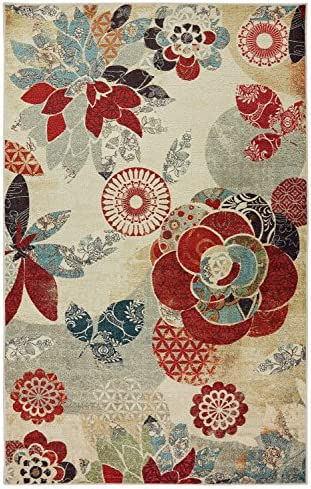 Mohawk Home Geo Floral Pattern Printed Area Rug, Multicolor