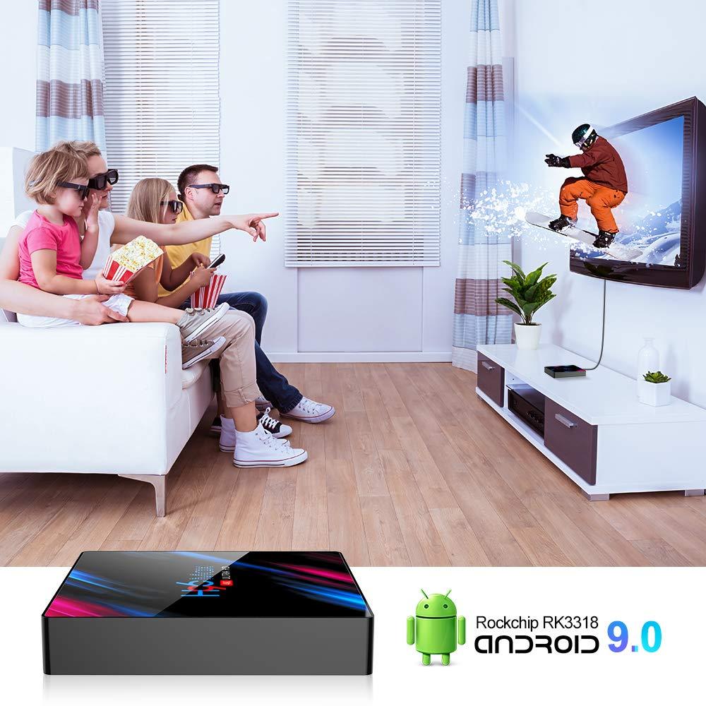 Android 9.0 TV Box Smart Media Box 4GB RAM 32GB ROM RK3318 Quad Core Bluetooth 4.2 WIFI 2.4G /& 5G Ethernet 1USB 3.0 /& 1USB 2.0 Set Top Box Support 4K Ultra HD Internet Video Player