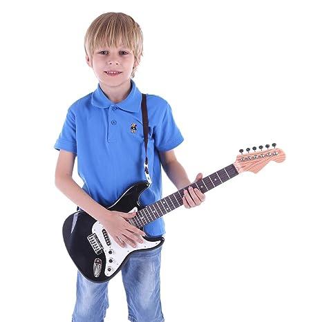 MRKE Guitarra Electrica Niños 67cm 6 Cuerdas Rock Juguete de Instrumentos Musicales Guitarra Regalo para Infantil
