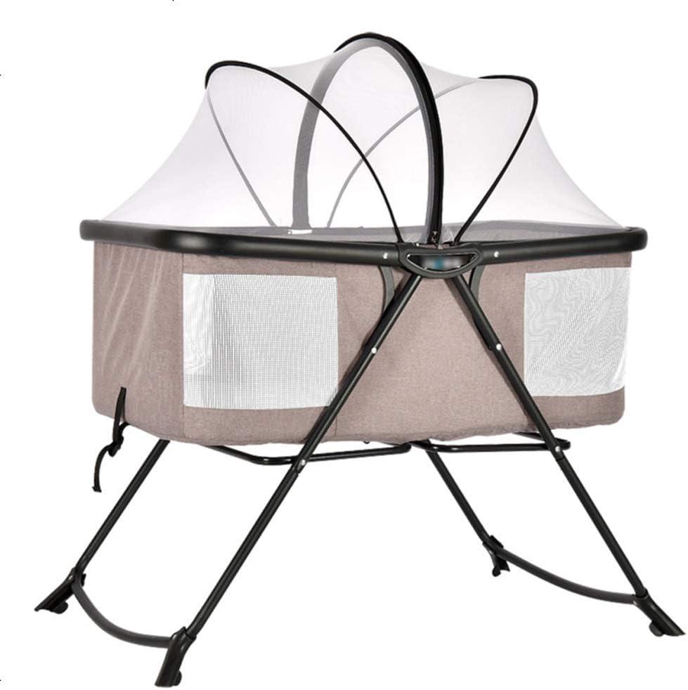 Byx- Cuna Recién nacido Plegable Pequeña cama multifunción portátil Cuna para bebé con mosquitera La cama para columpios para bebés puede ser semi-mentira para enviar una almohadilla en forma de almoh