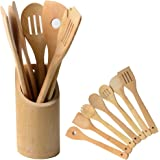 Kitchen Cooking Utensils Set Yoheox 7 Pcs Nonstick Wooden Bamboo Cooking Tools With Bamboo Utensils Holder