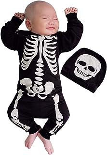 Luoluoluo Halloween Bambino Costum,Pagliaccetti per Bambino,Bambini Unisex Pigiama Onesie,Neonato Bambino Ragazzi Ragazze Halloween Bone Stampa Romper Tuta Set Abiti Vestiti