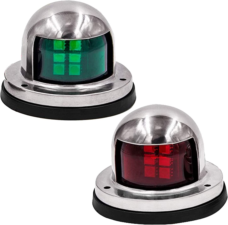 Silver Boat Light Bow Navigation Light Bi-Color Red Green Lens Signal Light
