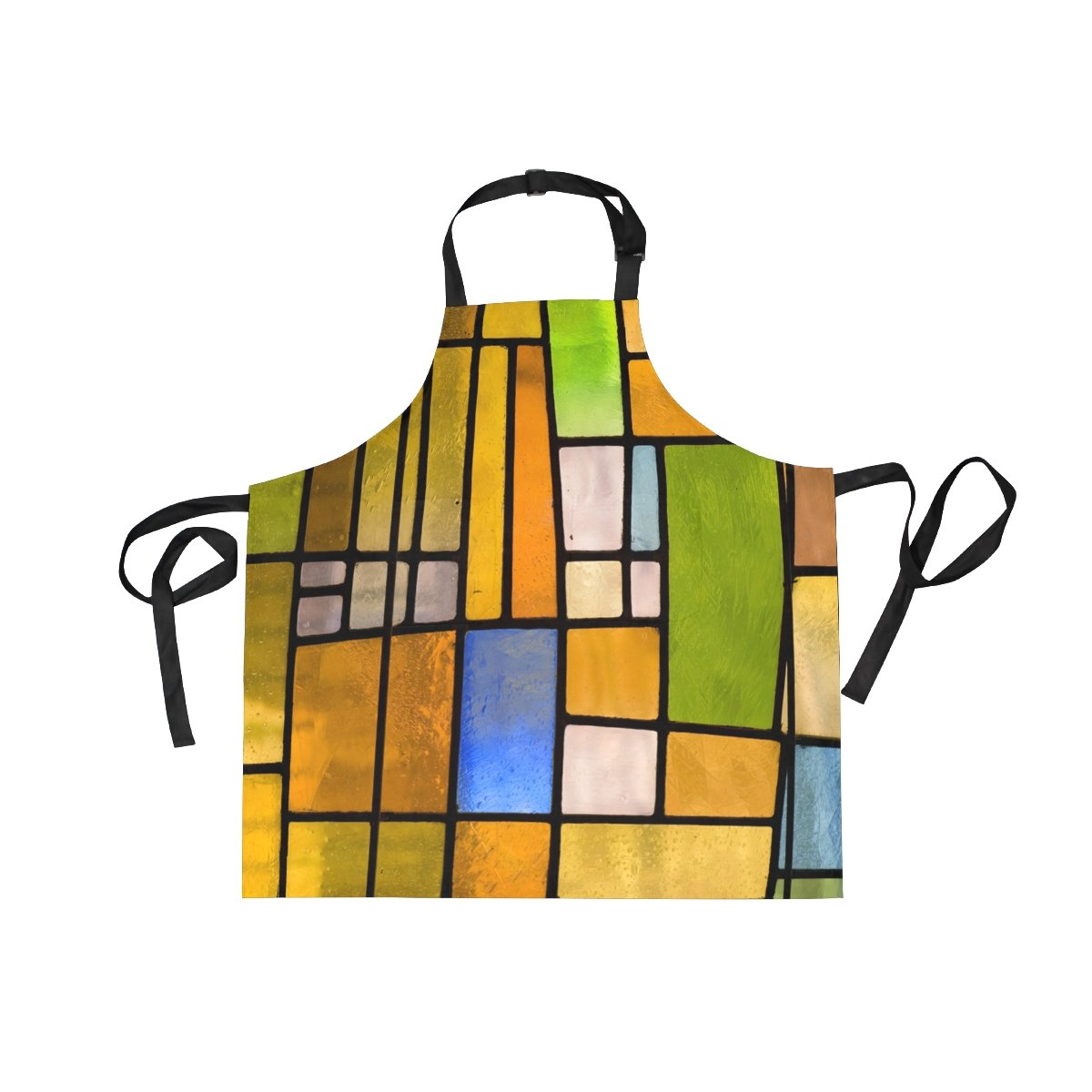 XiangHeFu Bib Aprons with 2 Pockets Stained Glass Window 27.5 x 29 Inch Adjustable Neck Strap for Men Women Cooking Baking Chef Kitchen