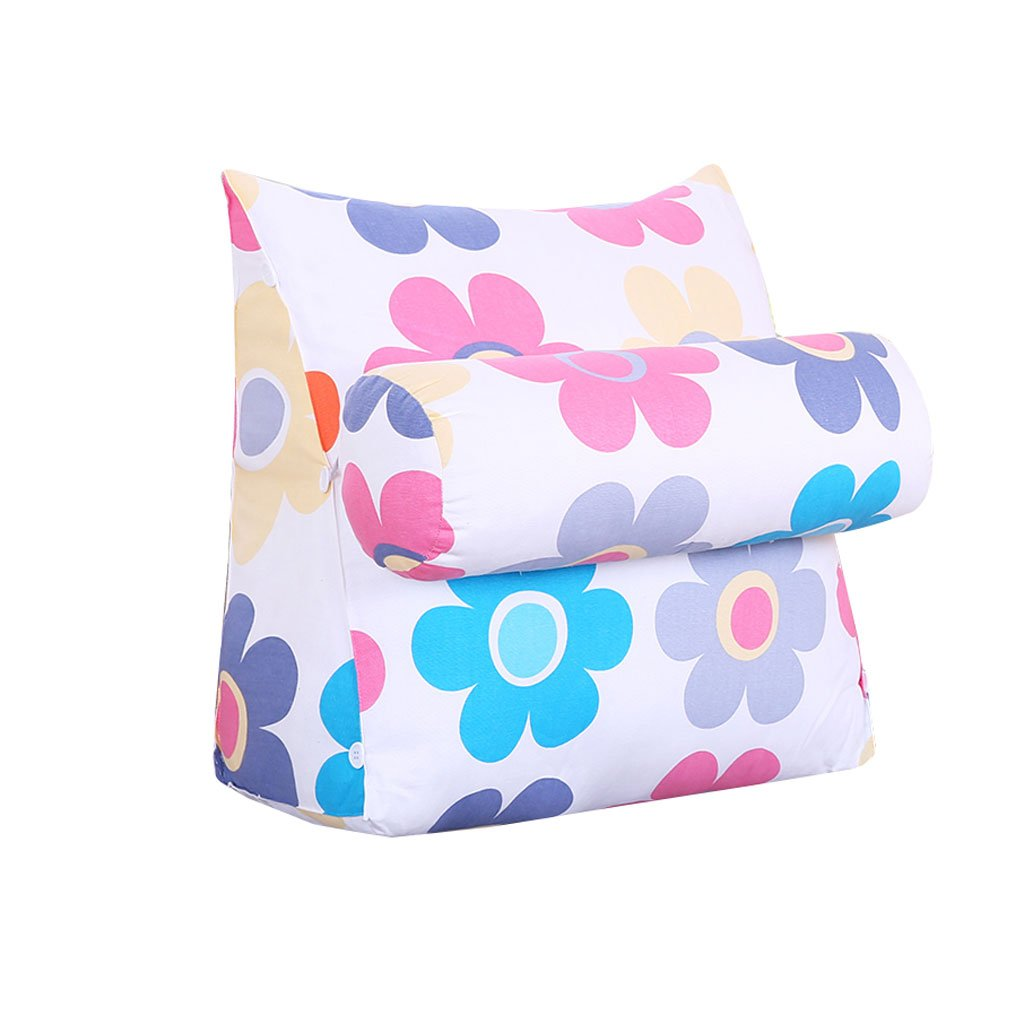 MS Pillow Neck Guard Protection Waist Headrest Triangle Bed Backrest Sofa Bed Headrest Soft Cushions On The Bed Office Lumbar Pillow Waist Pads Washable Flower Pattern Multiple by MS