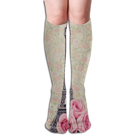 032976ddc5e Women Knee High Cotton Boot Socks Rose Flower Paris Eiffel Tower Tall Boots  Long Sock