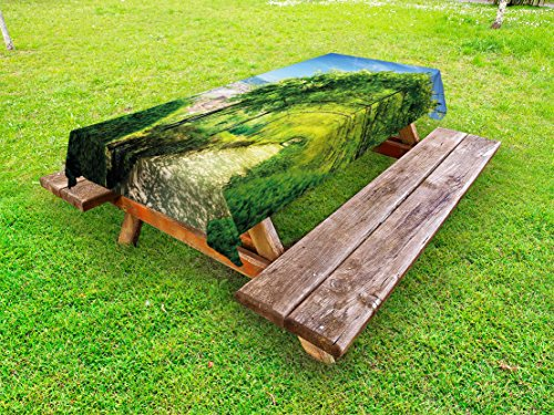 Lunarable Italian Outdoor Tablecloth, Boboli Gardens in Florence Italy Famous Place Natural Landmark Tourist Attraction, Decorative Washable Picnic Table Cloth, 58 X 104 Inches, Green Blue