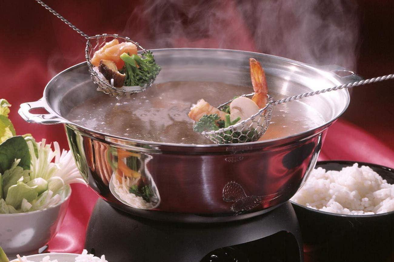 Queta Lot de 4 passoires /à fondue en acier inoxydable Passoire mongolique pour casseroles chaudes Cuisine