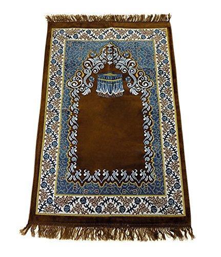 Prayer Rug Carpet Islamic Muslim Salah Meditation Mat Turkish Exquisite Brown ()