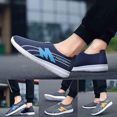 QinMM Zapatillas Running Deporte Malla sin Cordones para Hombre Zapatillas Deportivas Zapatos para Correr Fitness Sneakers Planas Zapatos de Gimnasia: Amazon.es: Zapatos y complementos