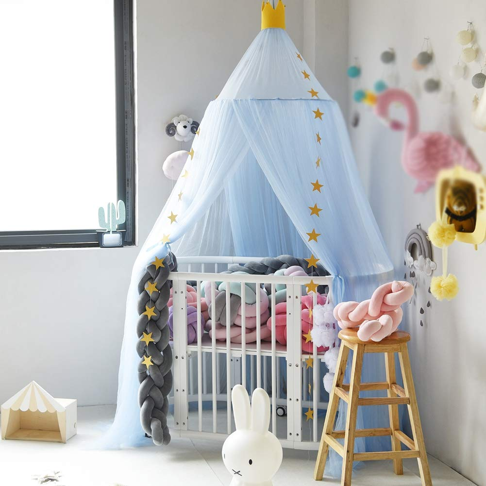 GLXQIJ Kids Baby Bedding Dome Hanging Mosquito Net Bed Canopy Curtain Dream Tent Dome for Baby Crib Kids Room Decor,Blue,50200CM