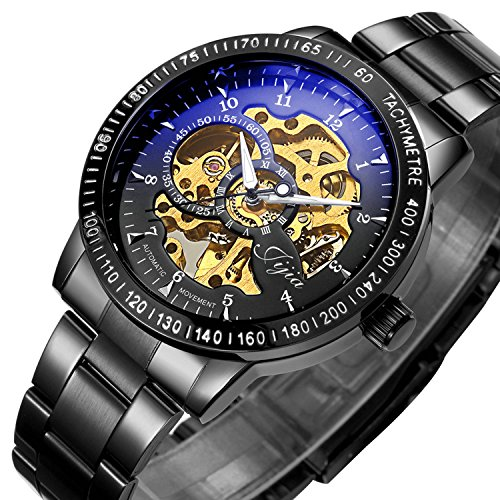 Watch,Mens Watch,Casual Luxury Black Classic Skeleton Automatic Mechanical Stainless Steel Watch