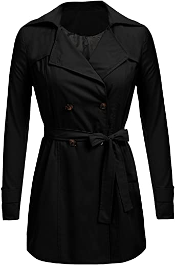 Aulin/é Collection Womens Fashion Double Breasted Trench Coat Jacket with Belt