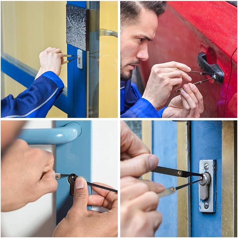 Lockpicking Tool Set en Acier Inoxydable Verrouillage Pick LINGSFIRE Kit Crochetage Serrure 16 Pi/èces pour Serruriers D/ébutant et Pro