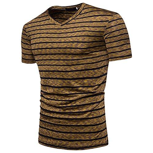 Stripe T Shirts for Men, MISYYA V Neck Polo Shirt Breathable Sweatshirt Muscle Tank Top Masculinity Undershirt Mens Tops Coffee by MISYAA (Image #1)