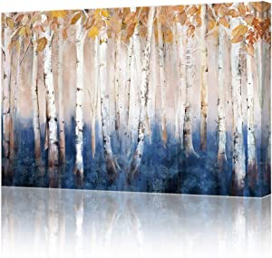 lamplig Fall Trees Wall Art Forest Canvas Pictures Blue Brown Birch Prints Rustic Yellow Plant Painting Artwork Home Decor for Living Room Bedroom Bathroom 16x24 inch