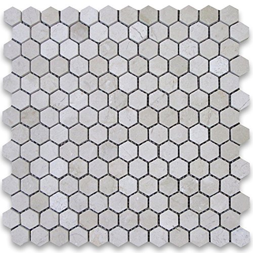 Crema Marfil Spanish Marble Hexagon Mosaic Tile 1 inch Polished