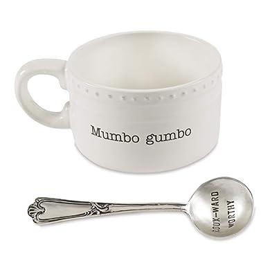 Mud Pie 43500027 Gumbo Spoon Soup Bowl Set, One Size, White
