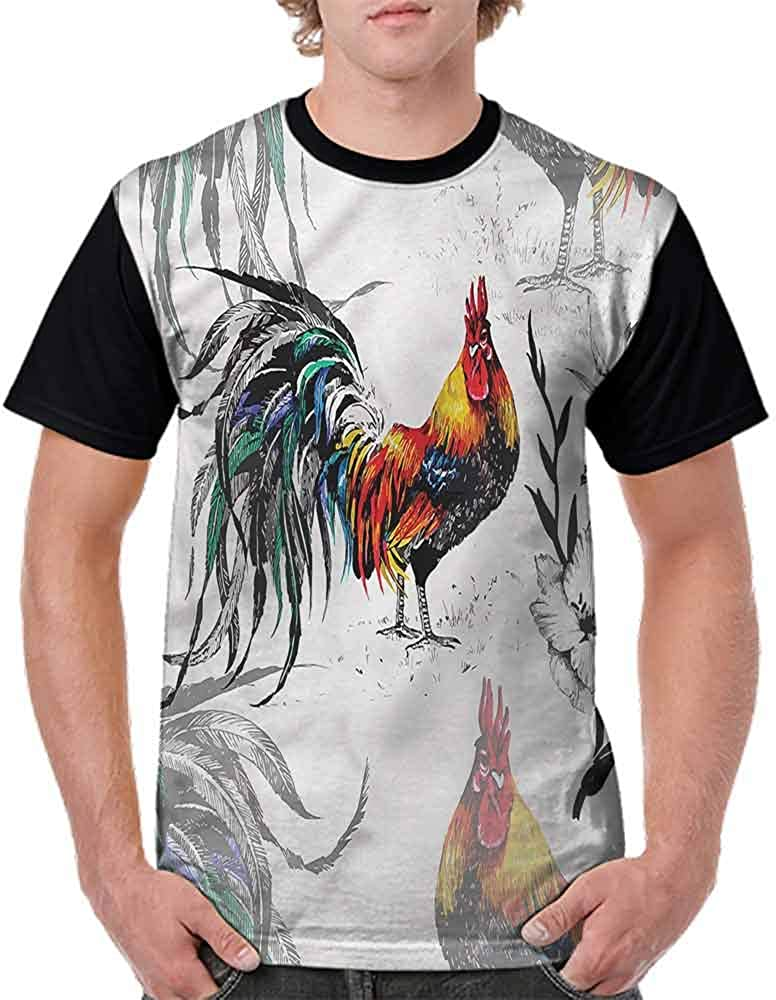Cotton T-Shirt,Rooster Crowing in Morning Fashion Personality Customization