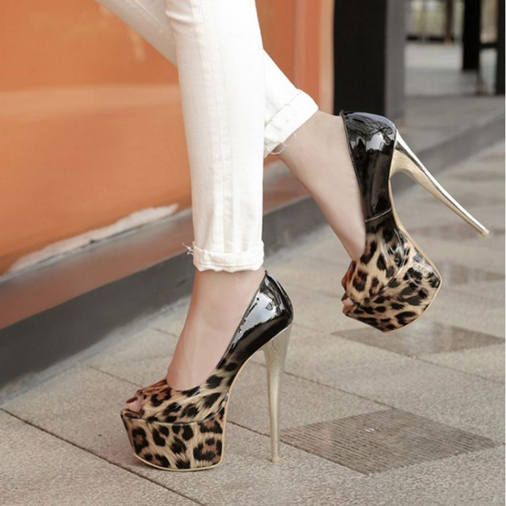 CUTEHEELS Pumps Sexy Pumps CUTEHEELS with Open Toe and High Stiletto Evening Shoes with Large for Wedding Parties B07FDCWVBP 8 B(M) US|Brown-1 c7f10d