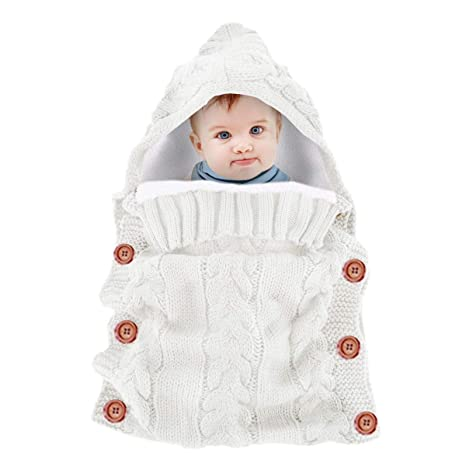 Leyeet bebé Infantil de Punto de Ganchillo con Capucha Sacos de Dormir Grueso cálido paño Grueso