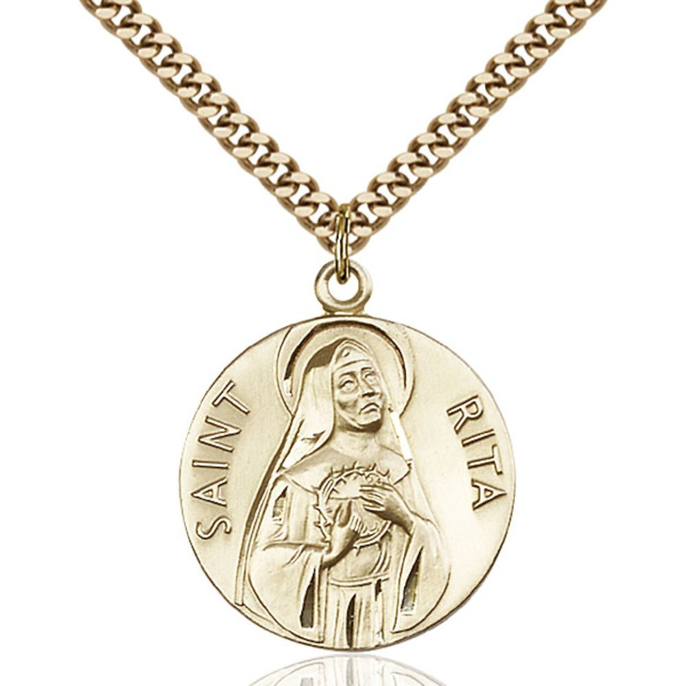 Gold Filled St. Rita of Cascia Pendant 1 x 7/8 inches with Heavy Curb Chain by Bonyak Jewelry Saint Medal Collection