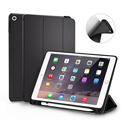 MoArmouz iPad 9 7-inch with Pencil Holder [iPad Model A1893, A1954] Trifold  Stand Folio Smart Case with Auto Sleep/Wake Function for Apple iPad- Black