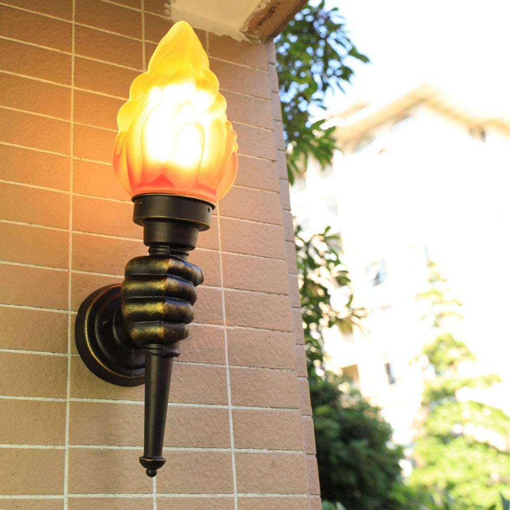 BHGFRED Lampada da Parete per Esterno in Stile Vintage Lanterna Lampada da Parete per Esterno in Vetro Coloreato colore Trasparente per Giardino, Bar, Hotel, Ristorante