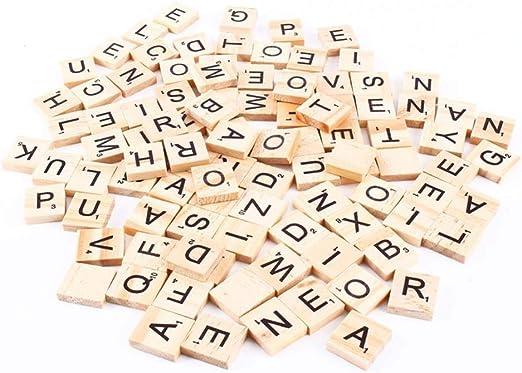 Aeromdale Letras de madera de madera, letras estándar y números compatibles para Scrabble 100 piezas Puzzle Alfabetos de la A a la Z: Amazon.es: Hogar