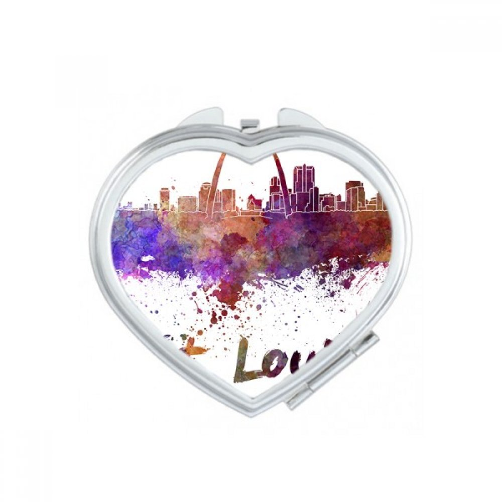 St.Louis America Country City Watercolor Illustration Heart Compact Makeup Pocket Mirror Portable Cute Small Hand Mirrors Gift