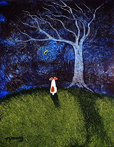 (Jack Russell Terrier Dog LARGE Art PRINT by Todd Young BARE TREE)