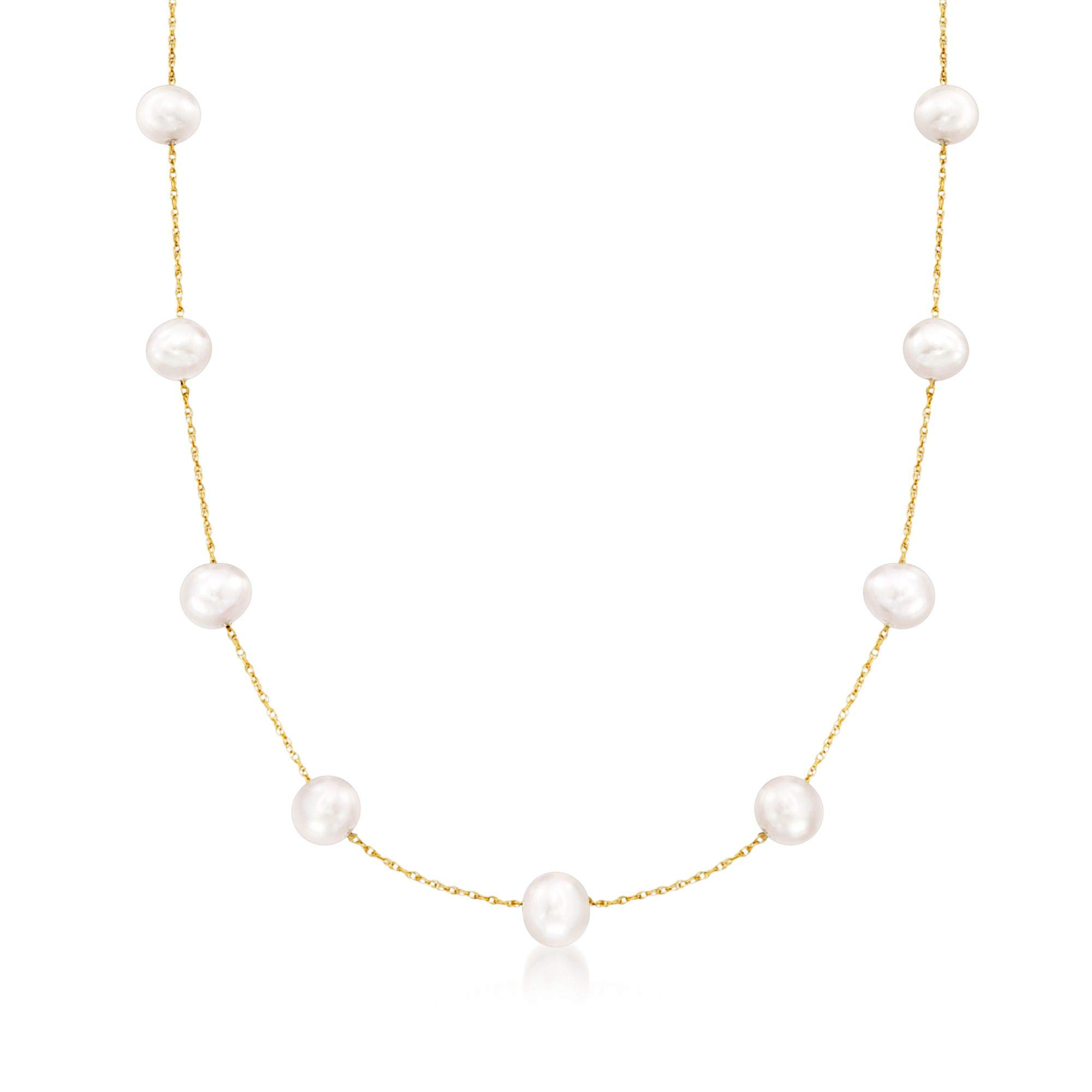 Ross-Simons 6-6.5mm Cultured Pearl Station Necklace in 14kt Yellow Gold
