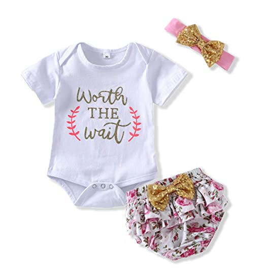 8611bd327213 Newborn Baby Girl Summer Clothes Letters Romper Floral Shorts Pink Headband  Bodysuit 3Pcs Outfit Sets (